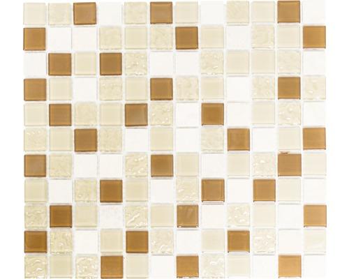 Sklenená mozaika s prírodným kameňom CM M432 30,5x32,5 cm béžová / hnedá