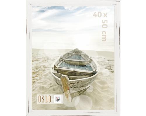 Plastový fotorámik s optikou dreva Oslo biely 40x50 cm