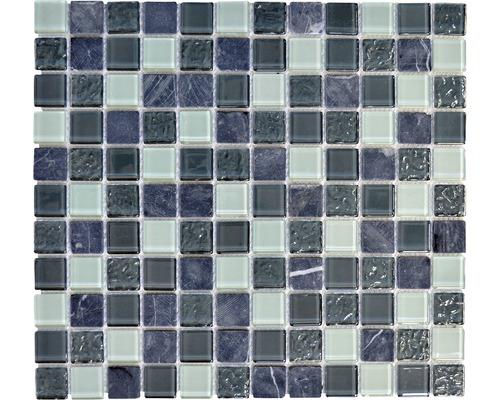 Sklenená mozaika s prírodným kameňom CM M422 30,5x32,5 cm sivá / čierna