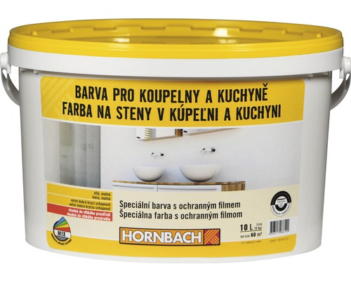 Biela farba na stenu Hornbach do kúpeľní a kuchýň s ochranným filmom 10 l