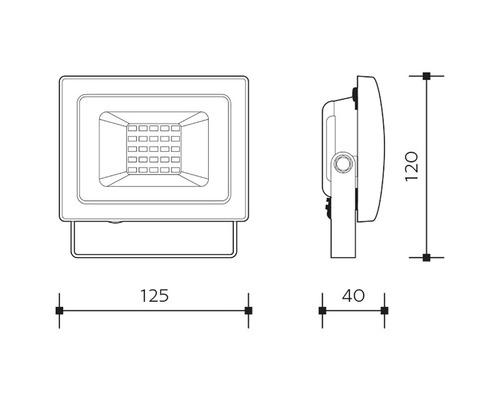 LED reflektor SMD IP65 20W 1800lm 4000K šedý
