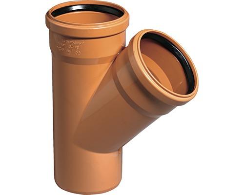 Jednoduchá odbočka pre kanalizačné rúry KG 45° Ø 125/125 mm