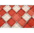 Sklenená mozaika červeno - biela 30,5x32,5 cm hrúbka 8 mm