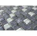 Sklenená mozaika s prírodným kameňom XCM M810 30,5x32,5 cm šedá/čierna