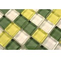 Sklenená mozaika XCM 8488 30,5x32,5 cm žltá/zelená