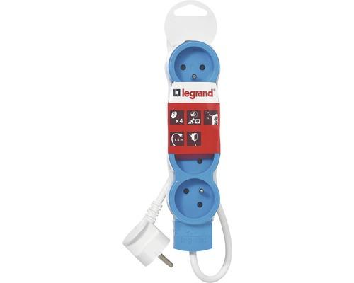 Predlžovací kábel 4 zásuvky 1,5m modrý