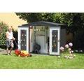 Plechový záhradný domček Biohort Europa 3 veľ. 224 x 152 cm tmavosivý metalický