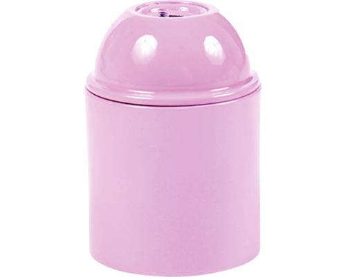 Objímka plastová E27, rúžová
