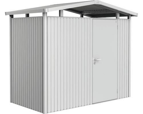 Plechový záhradný domček Biohort Panorama P1 257 x 134 cm jednokrídlové dvere strieborný