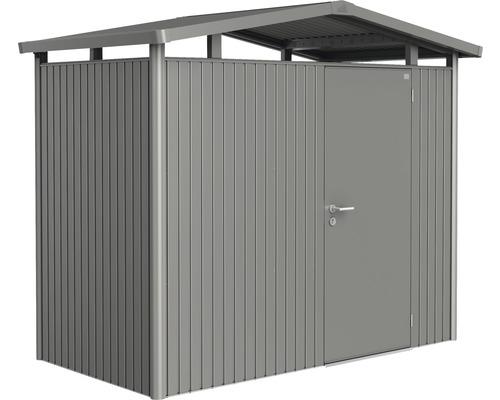 Plechový záhradný domček Biohort Panorama P1 257 x 134 cm jednokrídlové dvere sivý kremeň