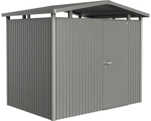 Plechový záhradný domček Biohort Panorama P2 257 x 174 cm jednokrídlové dvere sivý kremeň