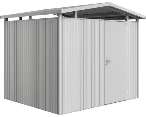 Plechový záhradný domček Biohort Panorama P3 257 x 214 cm jednokrídlové dvere strieborný