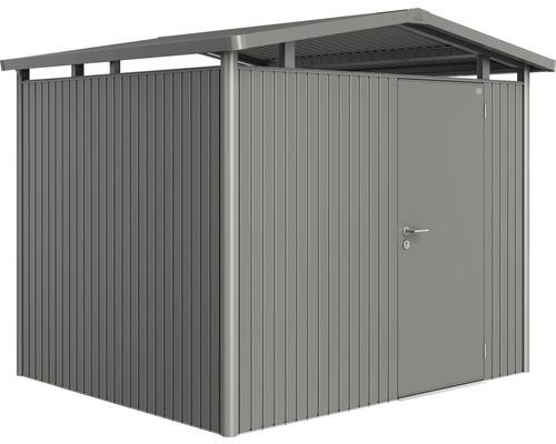 Plechový záhradný domček Biohort Panorama P3 257 x 214 cm jednokrídlové dvere sivý kremeň