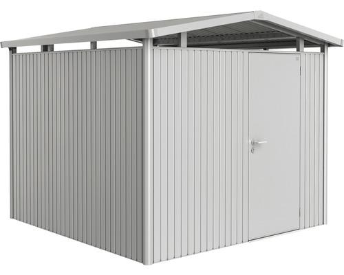 Plechový záhradný domček Biohort Panorama P4 257 x 254 cm jednokrídlové dvere strieborný