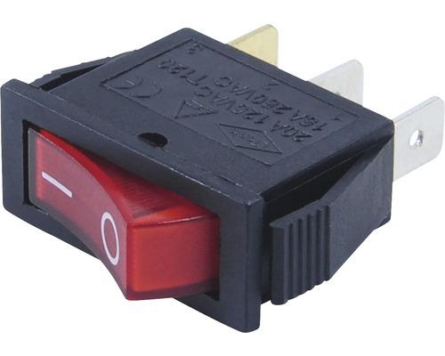 Vypínač vstavaný kolískový červený 15A