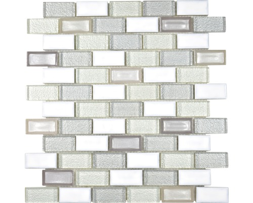 Sklenená mozaika ICE u BR.21 30x30 cm biela