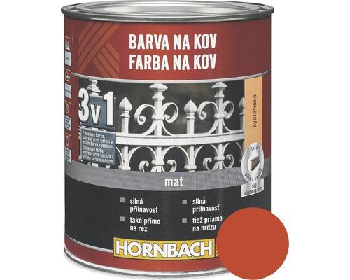 Farba na kov 3v1 Hornbach ohnivo červená, lesklá 250 ml