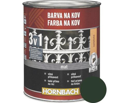 Farba na kov 3v1 Hornbach tmavo zelená, matná 750 ml