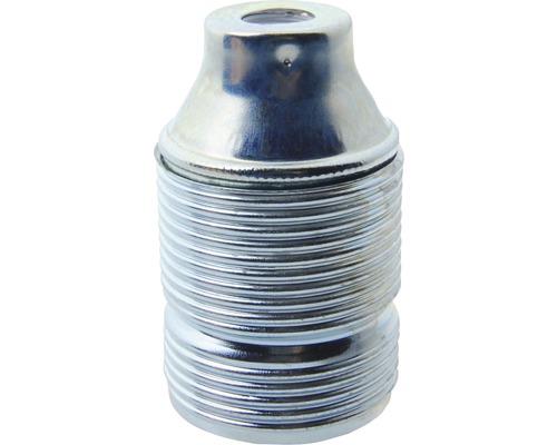 Objímka kovová dlhý závit strieborná E27