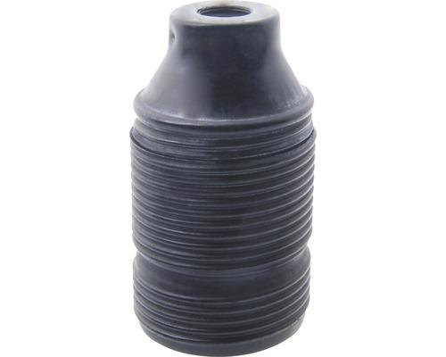 Objímka kovová dlhý závit čierna E27