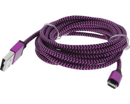 Dátový kábel MICRO USB 2,5m ružová