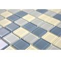 Sklenená mozaika CM4SE1M Crystal biela/strieborná/sivá 30x30 cm