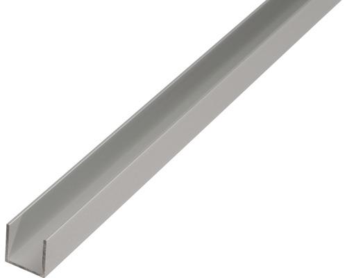 Alu U profil 20x18x20x1,3 mm, 1 m, strieborný elox