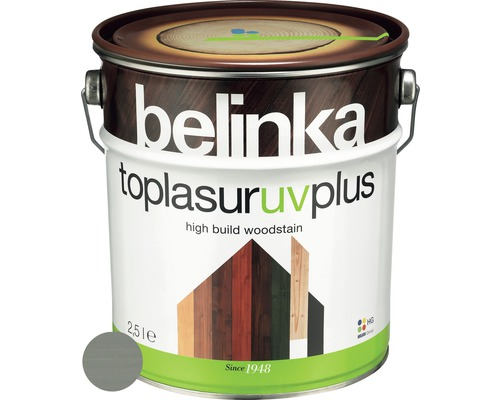 Silnovrstvá lazúra Belinka Toplasur platinovo sivá 2,5 l