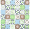 Sklenená mozaika XCM 8RMC49 30x30 cm biela/hnedá/modrá