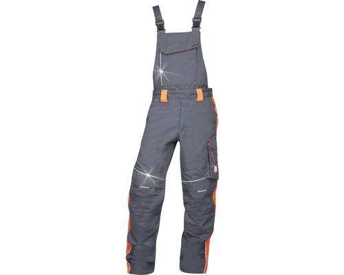 Pracovné nohavice ARDON náprsenka NEON sivo-červené, veľkosť 52