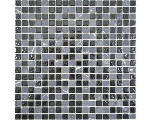 Sklenená mozaika Crystal s prírodným kameňom CM M465 30x30 cm sivá/čierna