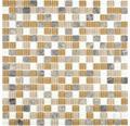 Sklenená mozaika Crystal s prírodným kameňom CM M435 30x30 cm béžová/hnedá