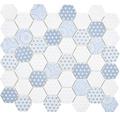 Sklenená mozaika Emily HX45 šesťuholník 32,40x28 cm svetlo modrá