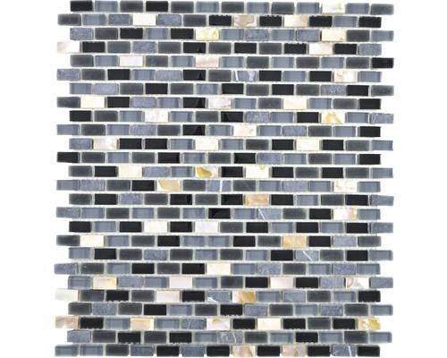 Sklenená mozaika Crystal s prírodným kameňom XCM B13S 31x28,5 cm čierna