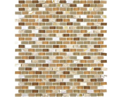 Sklenená mozaika Crystal s prírodným kameňom XCM B15S 31x28,5 cm béžová