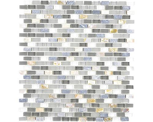 Sklenená mozaika Crystal s prírodným kameňom XCM B17S 31x28,5 cm sivá
