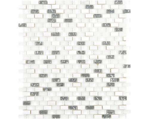 Sklenená mozaika Crystal s prírodným kameňom XCM B11S 31x28,5 cm biela