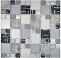 Sklenená mozaika XCM MC529 29,8x29,8 cm strieborná/sivá/čierna