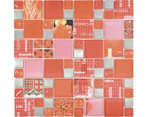 Sklenená mozaika XCM MC579 29,8x29,8 cm strieborná/červená