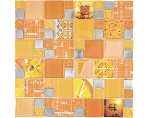 Sklenená mozaika XCM MC569 kombinácia striebornej a oranžovej