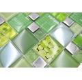 Sklenená mozaika XCM MC559 29,8x29,8 cm strieborná/zelená