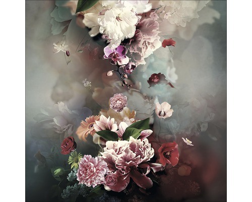 Sklenený obraz Baroque Flowermix IV 30x30 cm