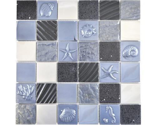 Sklenená mozaika mix reliéfna black