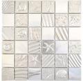 Sklenená mozaika štvorcová crystal mix reliéfny silver