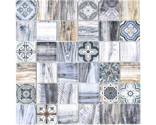 Mozaika Quadrat krystal mix modrá