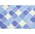 Sklenená mozaika štvorcová crystal mix modrá light blue fluoreskujúca