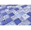 Sklenená mozaika štvorcová crystal mix blue