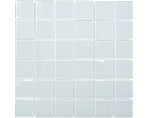 Sklenená mozaika štvorcová crystal mix biela