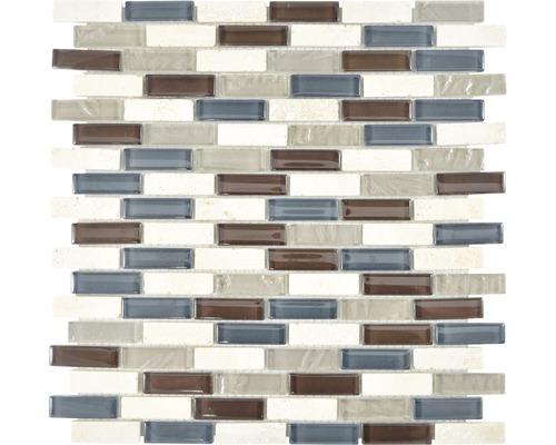 Sklenená mozaika XCM IL037 väzba 29,8x30,4 cm krištáľ/kameň mix