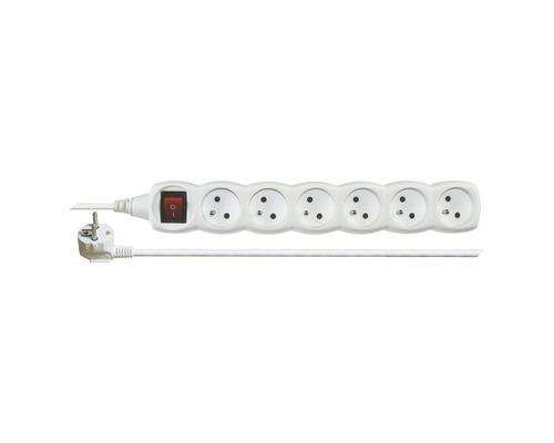 Predlžovací kábel Emos 6 zásuvky s vypínačom 5m biely